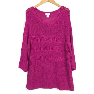 Chico's Hot Pink Knit Sweater Women's XL